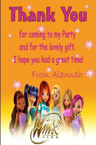 Personalised Winx Thank You Card (2)